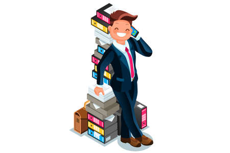 Accountant stands next to a overloaded paper pile of folders and talking by phone. Businessman flat vector illustration