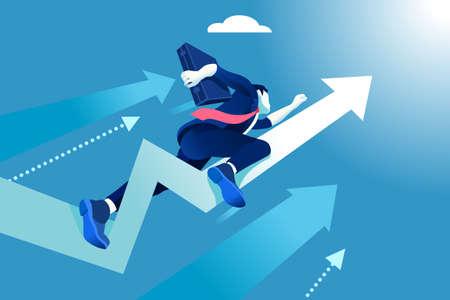 コンセプトに急ぎなさい。ビジネスのベクトル図です。上昇の矢印のようなビジネスマンを飛んでいます。  イラスト・ベクター素材
