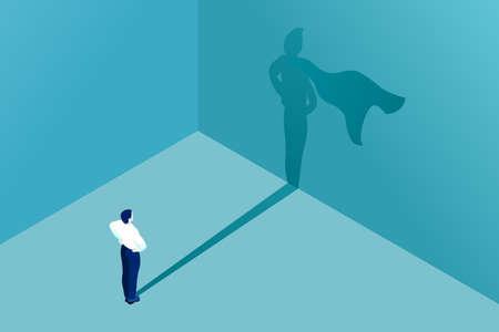 Icona dell'uomo d'affari con il concetto di vettore dell'ombra del supereroe per l'illustrazione di affari. Simbolo di affari di leadership ambizione successo coraggio motivazione e sfida.