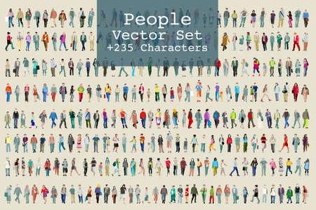 Vector set geïllustreerde mensen. Meer dan tweehonderd pictogrammen Stockfoto - 91001453