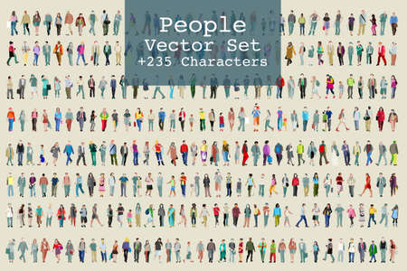 Vector set of illustrated people. More than two hundred icons Çizim