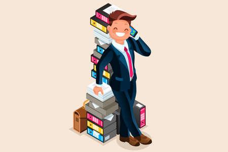 会計士は、フォルダーと電話で話しのオーバー ロードされた紙の山の隣に立っています。ビジネスマンのフラットのベクトル図