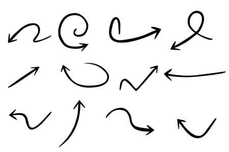 벡터 손으로 그려진 된 화살표