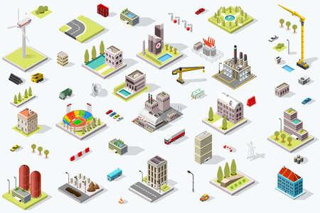 Zestaw izometrycznych budynków miejskich. Krajobraz dzielnicowy z ulicami infrastruktury miejskiej i domami. Ilustracja wektorowa mapy 3D.