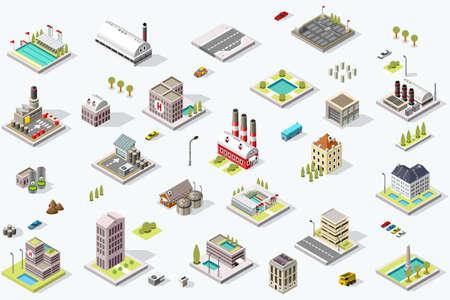 Insieme di edifici della città isometrica. Paesaggio del distretto della città con le strade e le case dell'infrastruttura urbana. Mappa 3D illustrazione vettoriale. Vettoriali