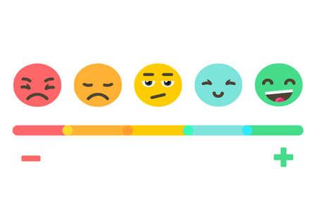 Informacje zwrotne pojęcia emocj skala tło. Projekt transparentu wektor