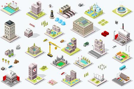 アイソメ都市の建物のセット。都市インフラの通りや家と町の地区の風景。3D マップ ベクトルイラストレーション。