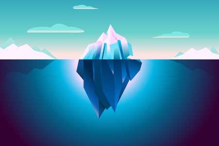 울트라 바이올렛 빙산의 배경 일러스트