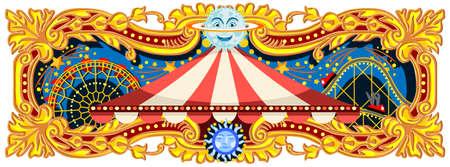 Carnaval banner circus sjabloon. Circus vintage thema voor kinderen verjaardag uitnodiging of post. Kwaliteit vectorillustratie. Stock Illustratie