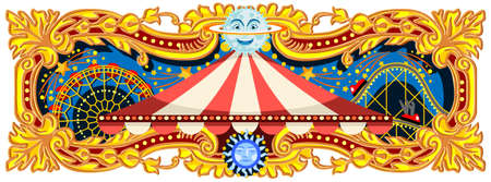 Carnival banner circus template. Circus vintage theme for kids birthday party invitation or post. Quality vector illustration. Stock fotó - 93385652