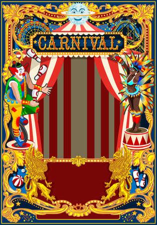 Modello di manifesto di Carnevale. Tema d'epoca di circo per invito o post di festa di compleanno per bambini. Illustrazione vettoriale Archivio Fotografico - 93385440
