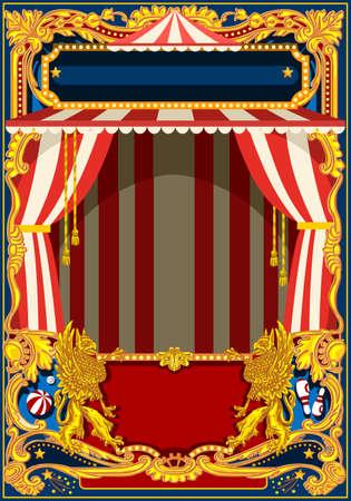 Carnaval poster sjabloon. Circus vintage thema voor kinderen verjaardagspartij uitnodiging of post. Kwaliteit vector illustratie. Stock Illustratie
