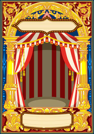 Carnival poster template. Circus vintage theme for kids birthday party invitation or post. Quality vector illustration. Banco de Imagens - 93385658