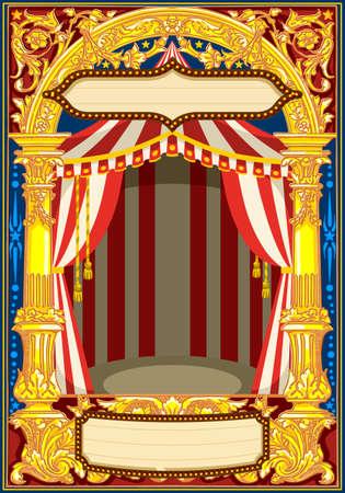 Modelo de cartaz de carnaval. Tema do vintage do circo para o convite ou o borne da festa de anos das crianças. Ilustração vetorial de qualidade. Foto de archivo - 93385658