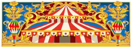 カーニバルバナーサーカステンプレート。子供の誕生日パーティーの招待状や投稿のためのサーカスのヴィンテージのテーマ。品質ベクトルイラストレーション。 写真素材 - 93385660