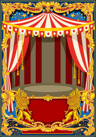 Carnival poster template. Circus vintage theme for kids birthday party invitation or post. Quality vector illustration. 免版税图像 - 93385443