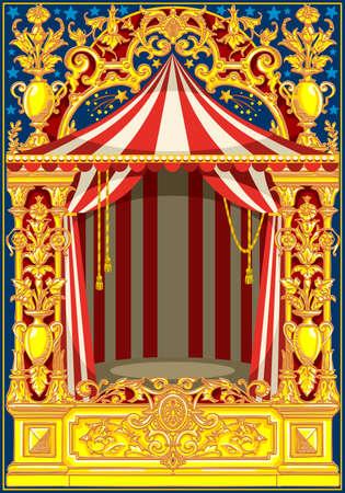 Modello di manifesto di Carnevale. Tema d'epoca di circo per invito o post di festa di compleanno per bambini. Illustrazione vettoriale Archivio Fotografico - 93385662