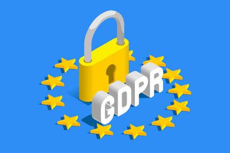 GDPR General Data Protection Regulation. EU flag. Vector illustration Illustration
