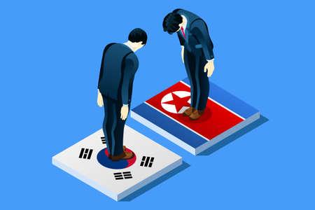 북한과 남한 평화 협상은 깃발을 가진 infographic. 플래그 벡터 일러스트 레이 션에 남자를 서 서. 일러스트