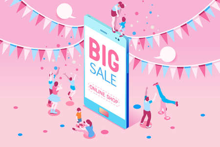 Phone sale offer concept for poster. Big Sale on mobile phone for online marketing with four young joyful people. Vector illustration design for website banner or poster.