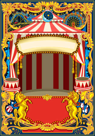 Circus poster theme. Vintage frame with circus tent for kids birthday party invitation or post. Quality template vector illustration.