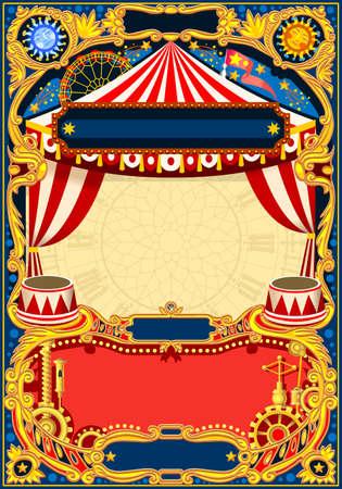 서커스 편집 가능한 프레임입니다. 어린이 생일 파티 초대장 또는 게시물에 대 한 서커스 텐트와 빈티지 템플릿. 품질 벡터 일러스트 레이 션.