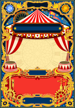Quadro editável de circo. Modelo vintage com tenda de circo para convite de festa de aniversário de crianças ou post. Ilustração vetorial de qualidade.