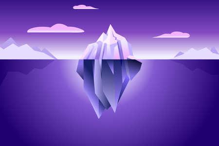 Iceberg wallpaper with ultra violet light nature modern minimal simple background  イラスト・ベクター素材
