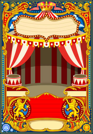 Circus cartoon poster theme. Vintage frame with circus tent for kids birthday party invitation or post. Quality template vector illustration. Vettoriali