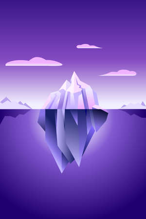 Iceberg wallpaper with ultra violet light nature modern minimal simple background. Illustration