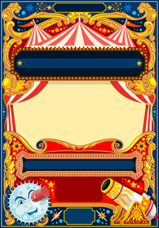 Circus vector theme. Vintage frame with circus tent for kids birthday party invitation or post. Quality template vector illustration.