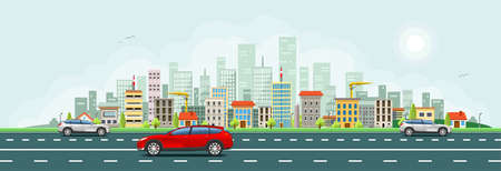 City skyline with houses vector banner. Ilustrace