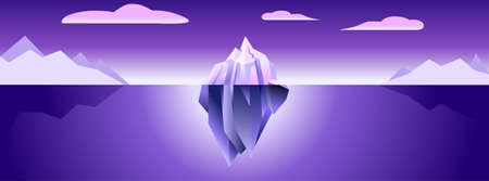 Iceberg banner with ultra violet light nature modern minimal simple background