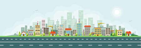 City houses skyline vector banner. Illustration