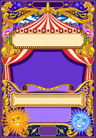 Circus background theme. Vintage frame with circus tent for kids birthday party invitation or post. Quality template vector illustration.