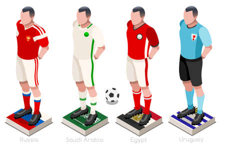 a group of football players with team shirts flags and ball. Isometric football vector illustration.