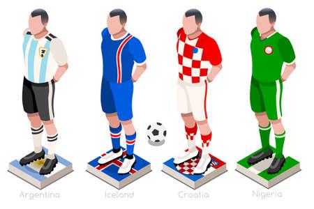 チームシャツの旗とボールを持つサッカー選手のグループ。アイソメサッカーベクトルイラスト。  イラスト・ベクター素材