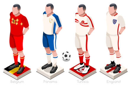 Wereldbeker voetbal een groep spelers met vlaggen en bal van teamoverhemden. Isometrische voetbal vectorillustratie.