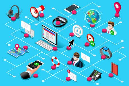センターサポートを支援するためのデジタルコール  イラスト・ベクター素材