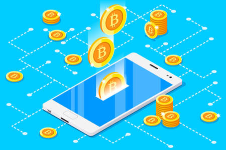 Monetary business with bitcoin currency. Smartphone with gold rain of bitcoins. 3D vector design. Stock Illustratie