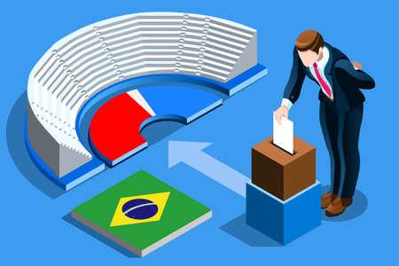 브라질 선거 투표 개념 브라질 남자 아이소 메트릭 투표 상자에 투표를 퍼 팅. 벡터 일러스트 레이 션 3D 평면 아이소 메트릭 현실적인 상세한 사람들과 일러스트