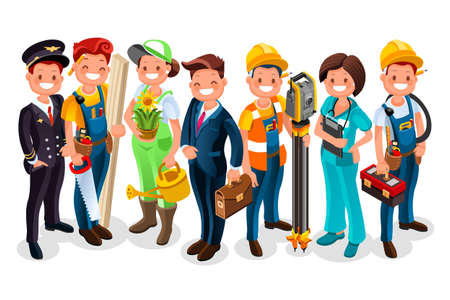 Different workmen and professional employers cartoon characters Çizim