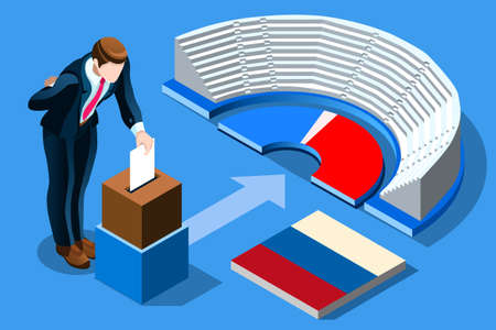 Russia election voting concept Russian man putting vote in the isometric ballot box. Vector illustration with 3D flat isometric realistic detailed people.