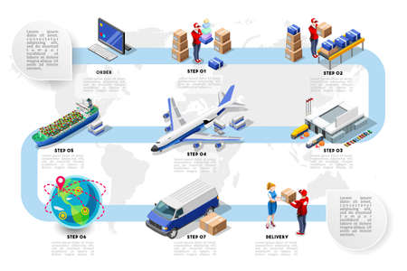 Logistics vehicle freight. Commerce and transport concept. Vector illustration. 3D isometric plane ship and truck for good delivery. Illustration