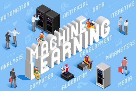 機械学習イラスト。ロボットの新技術。3Dベクトル設計。