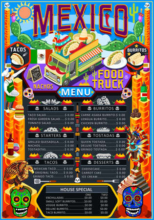 Fast food truck festival menu Mexican taco chili pepper burrito brochure street food poster design. Vintage party invite with hand drawn graphic. Vector food menu template for hipster flyer or board.