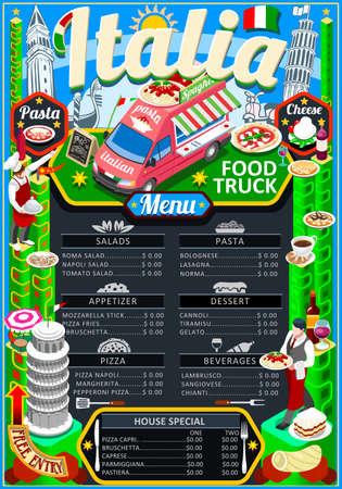 ファーストフードトラックフェスティバルイタリアンピザやパスタメニューパンフレットストリートフードポスターデザイン。手描きのグラフィッ