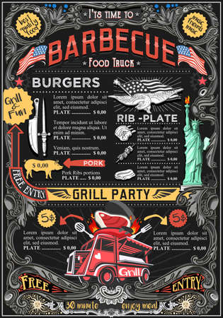 Fast food truck festival menu American BBQ Grill brochure street food poster design. Vintage party invite with hand drawn graphic. Vector food menu template for hipster flyer or board. Vettoriali