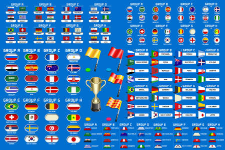 Football world championship groups. Set of four different flag illustration vector flag collection, 2018 soccer world tournament in Russia. World football cup, nations flags info graphic. Foto de archivo - 95367927