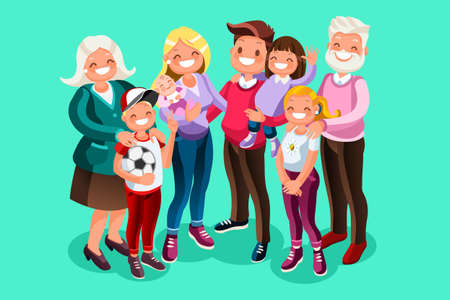 Happy hours of kids with dad and mom. People character vector illustration flat design.